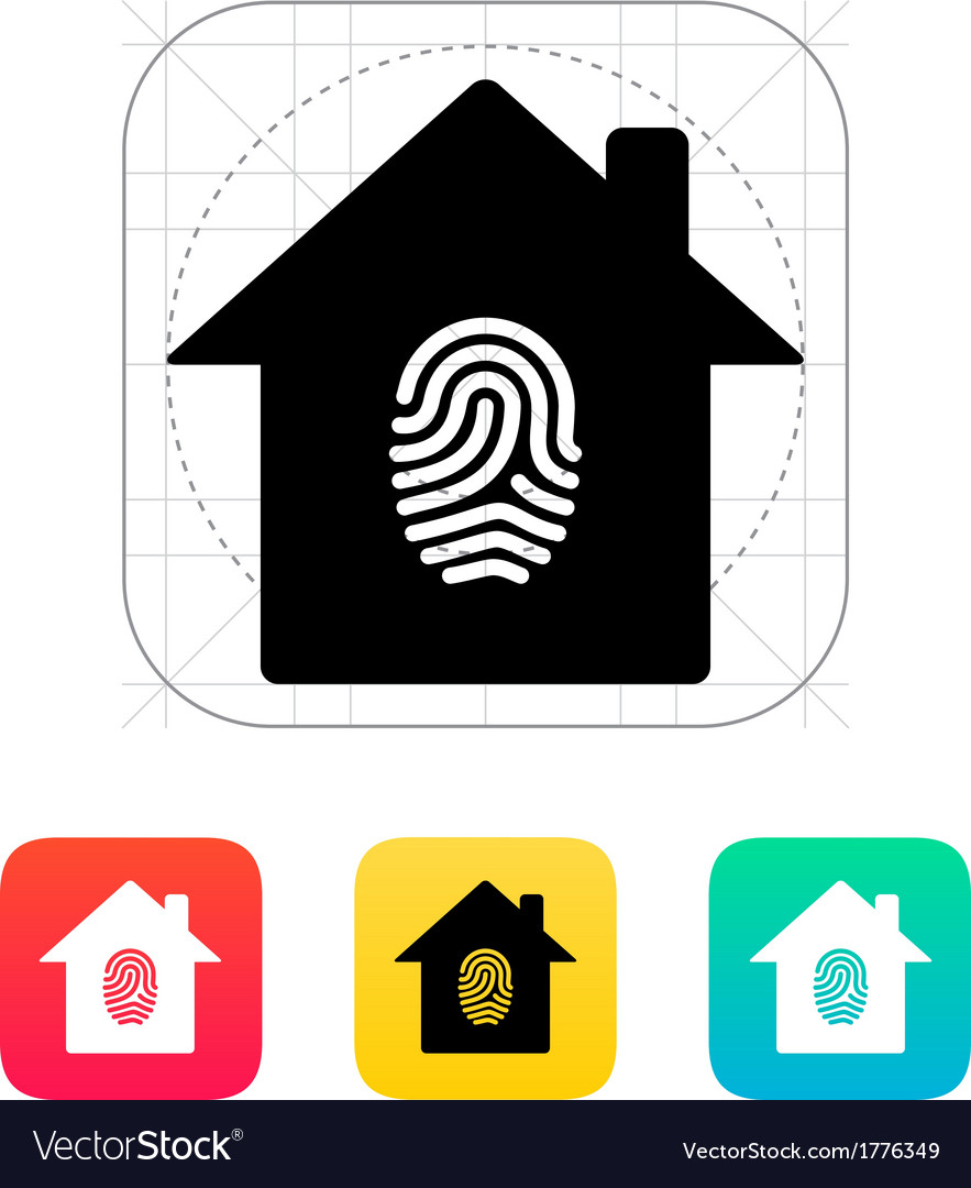 Fingerprint home secure icon vector | Price: 1 Credit (USD $1)