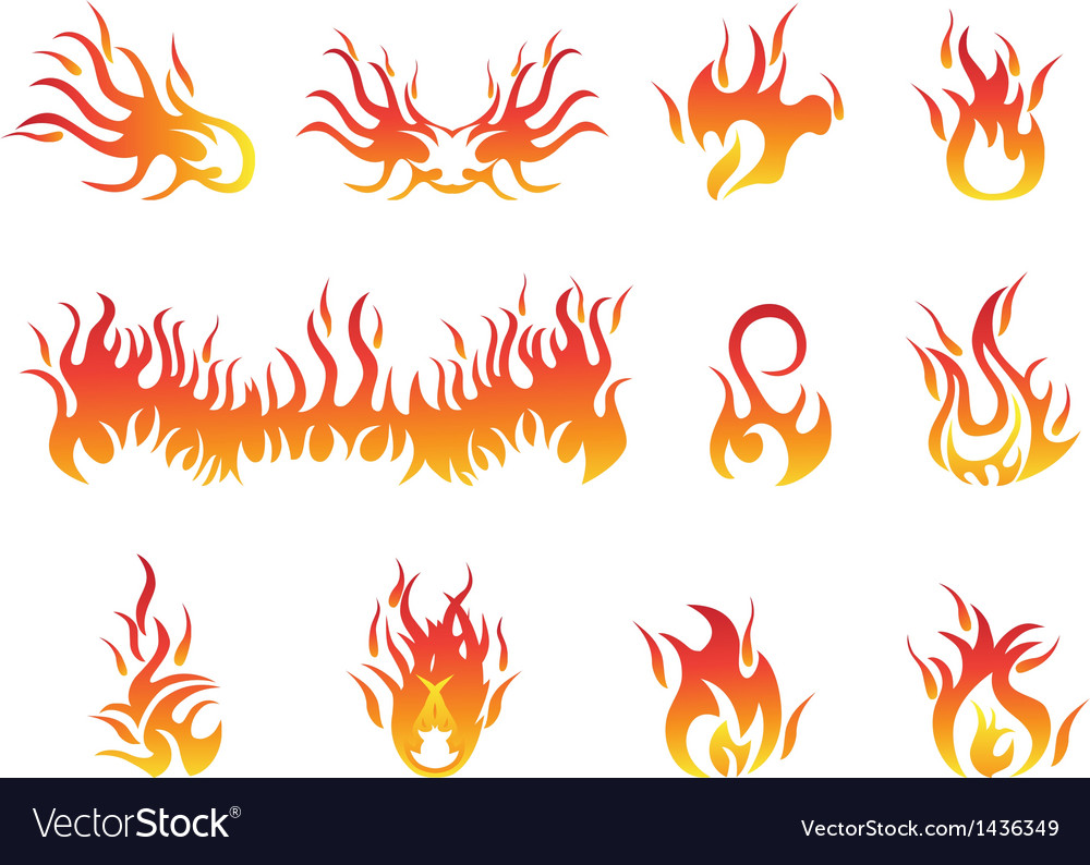 Flame symbols vector | Price: 1 Credit (USD $1)