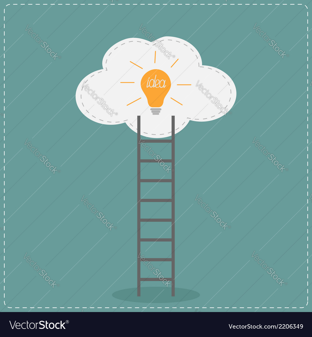Ladder and cloud with idea light bulb success vector | Price: 1 Credit (USD $1)