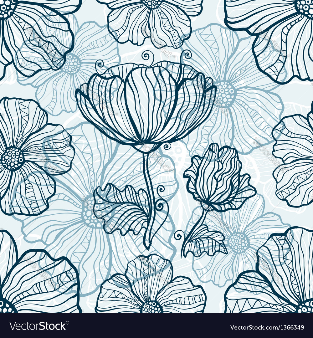 Monochromatic poppy flowers seamless pattern vector | Price: 1 Credit (USD $1)