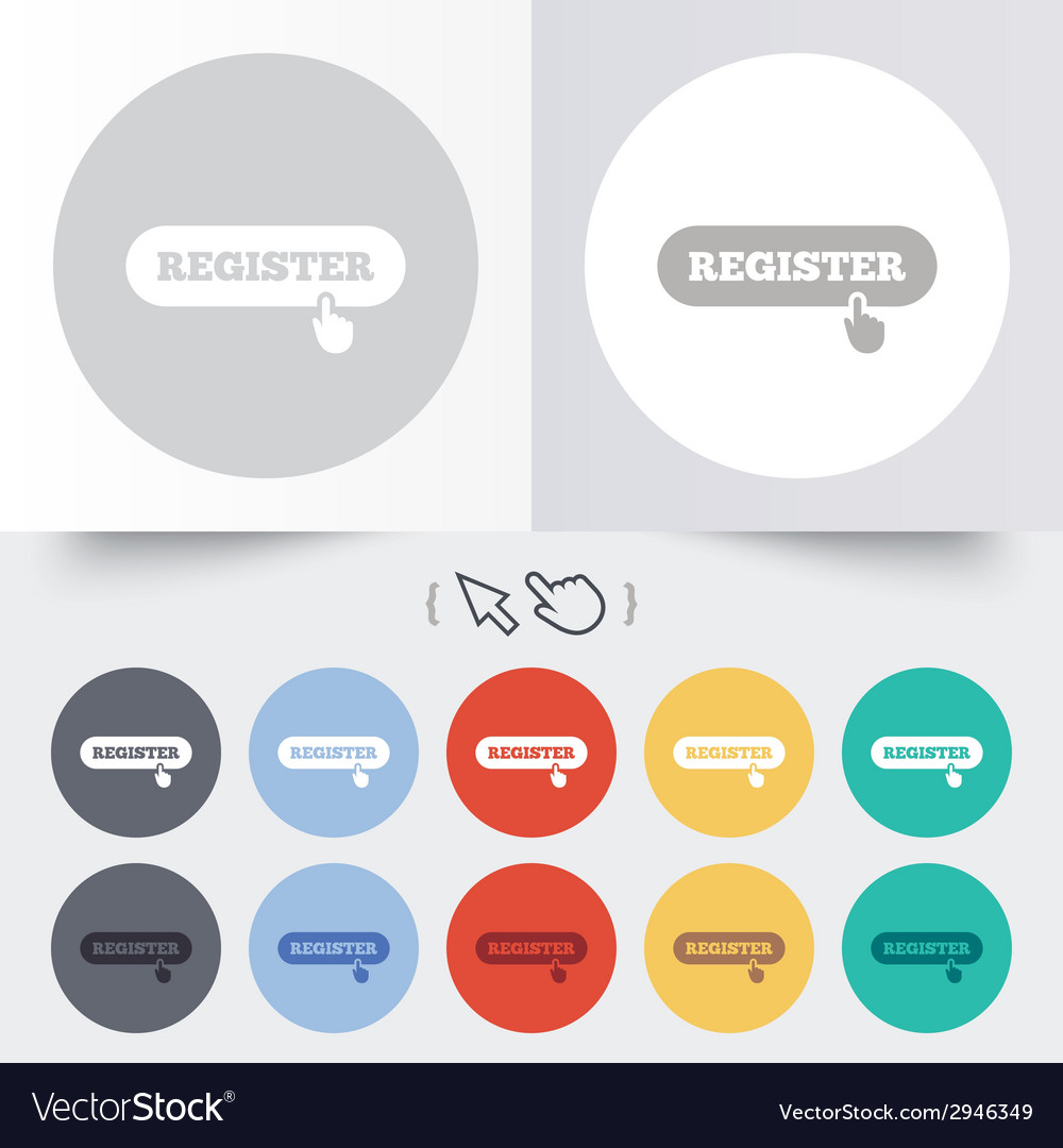 Register with hand pointer icon membership vector | Price: 1 Credit (USD $1)