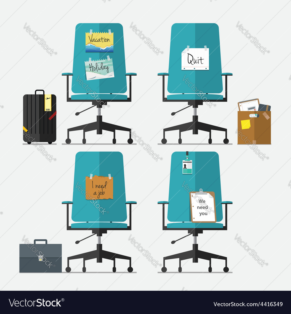 Set of office chair in flat design vector | Price: 1 Credit (USD $1)