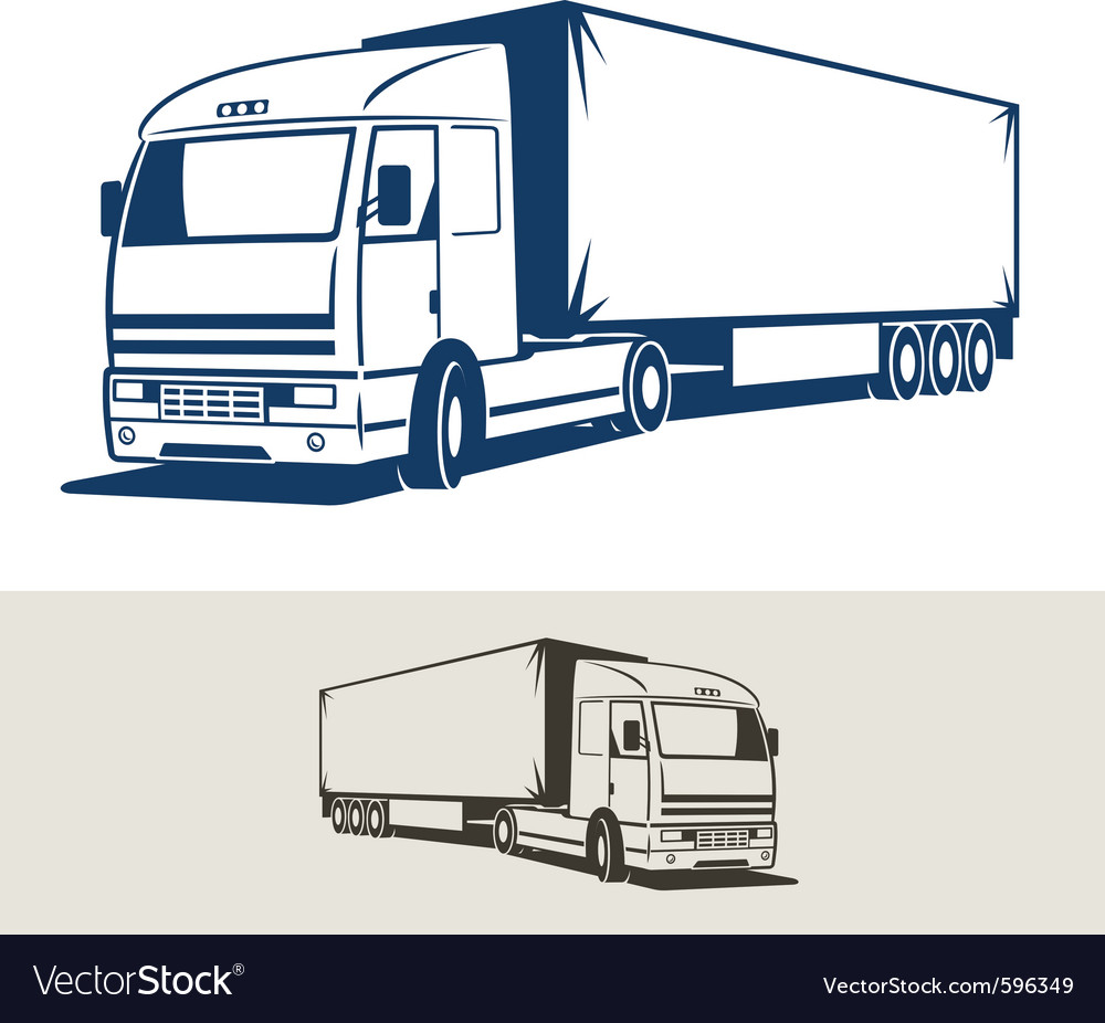 Truck with semitrailer vector | Price: 1 Credit (USD $1)