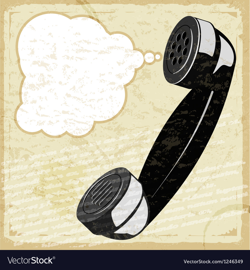 Vintage card with the image of the handset vector | Price: 1 Credit (USD $1)