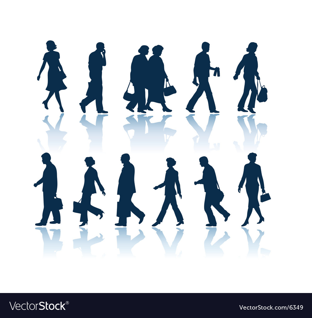 Walking people silhouettes vector | Price: 1 Credit (USD $1)