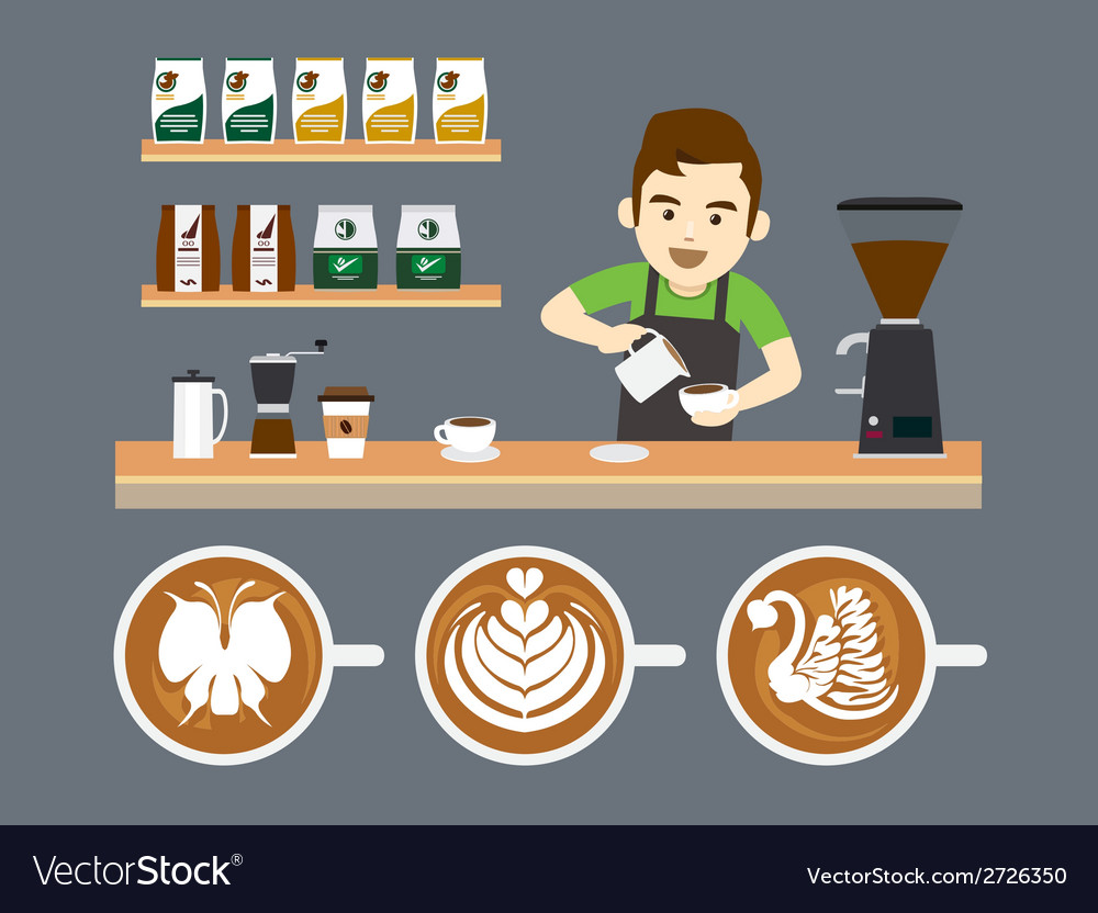 Barista pouring latte art vector | Price: 1 Credit (USD $1)