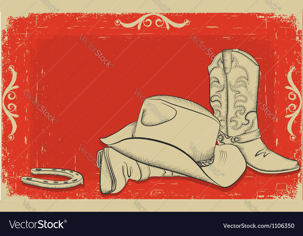 Cowboy boots and hat vector | Price: 1 Credit (USD $1)