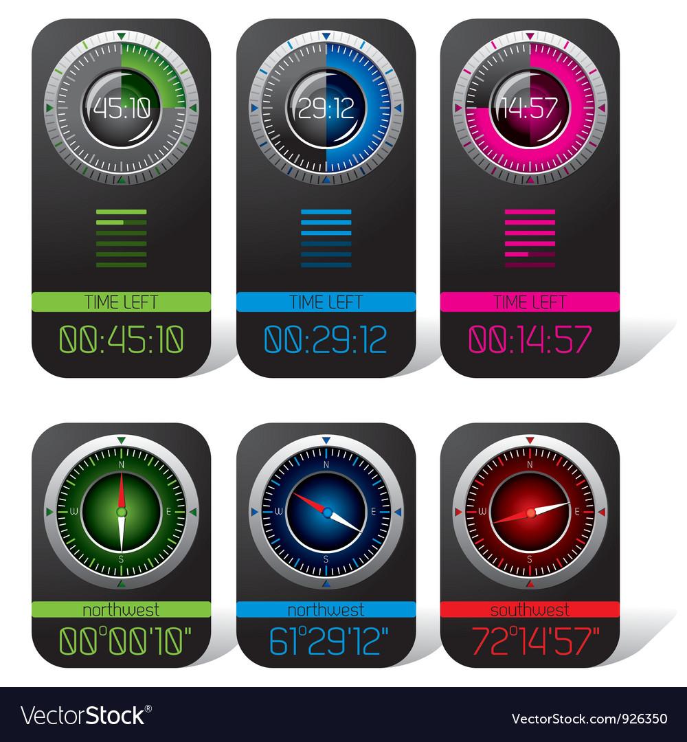 Digital chronometer and compass vector | Price: 3 Credit (USD $3)