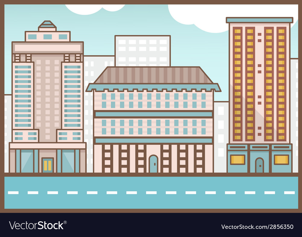 Flat of street landscape homes and road vector | Price: 1 Credit (USD $1)