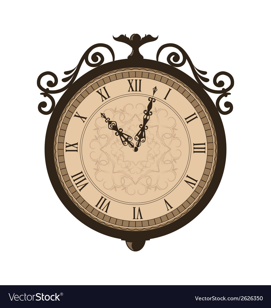Forging retro clock with vignette arrows isolated vector | Price: 1 Credit (USD $1)