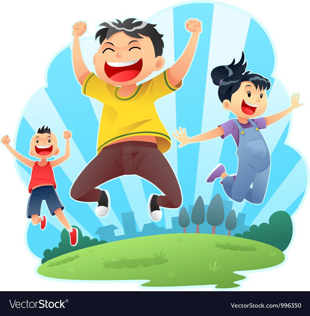 Happy jumps vector | Price: 3 Credit (USD $3)