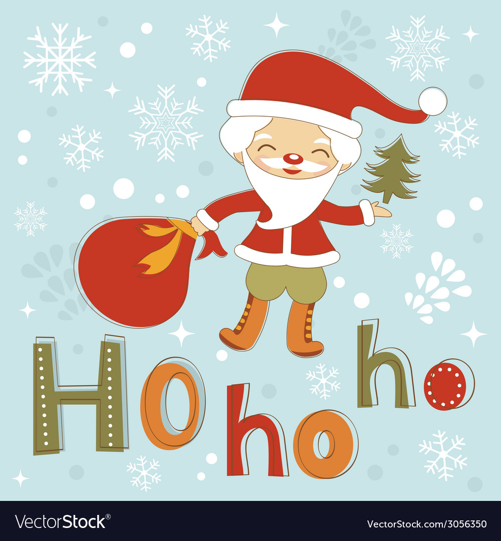 Hohoho santa cute christmas card vector | Price: 1 Credit (USD $1)