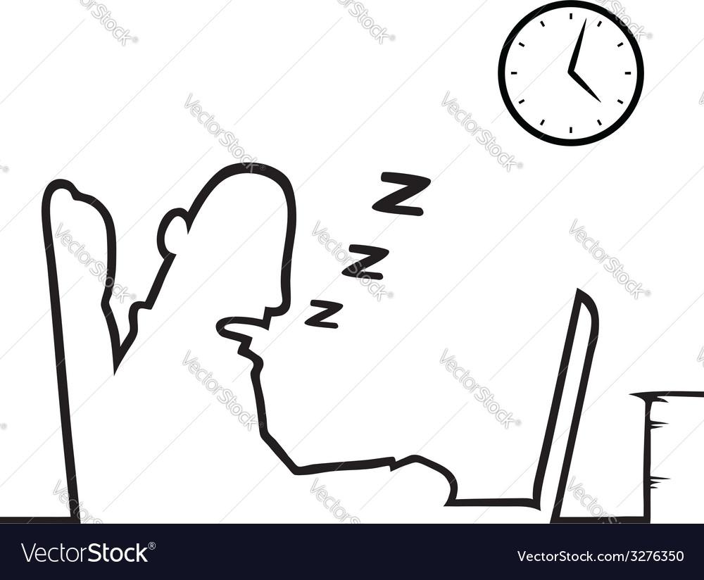 Man asleep at work vector | Price: 1 Credit (USD $1)