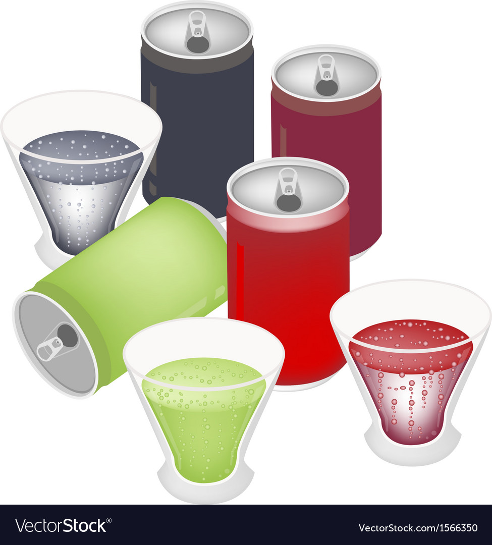 Refreshing soda drinks in glass and cans vector | Price: 1 Credit (USD $1)
