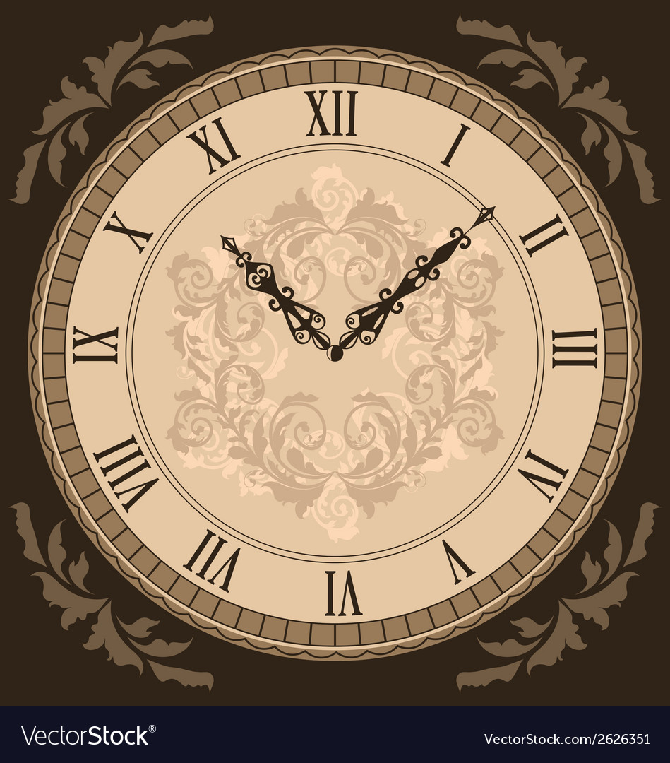 Close-up vintage clock with vignette arrows vector | Price: 1 Credit (USD $1)