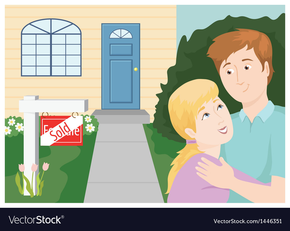Couple buying a home vector | Price: 3 Credit (USD $3)