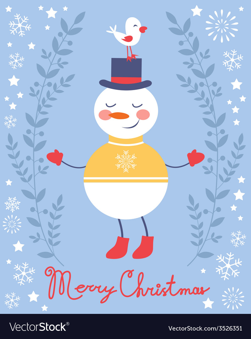 Cute snowman and bird christmas card vector | Price: 1 Credit (USD $1)
