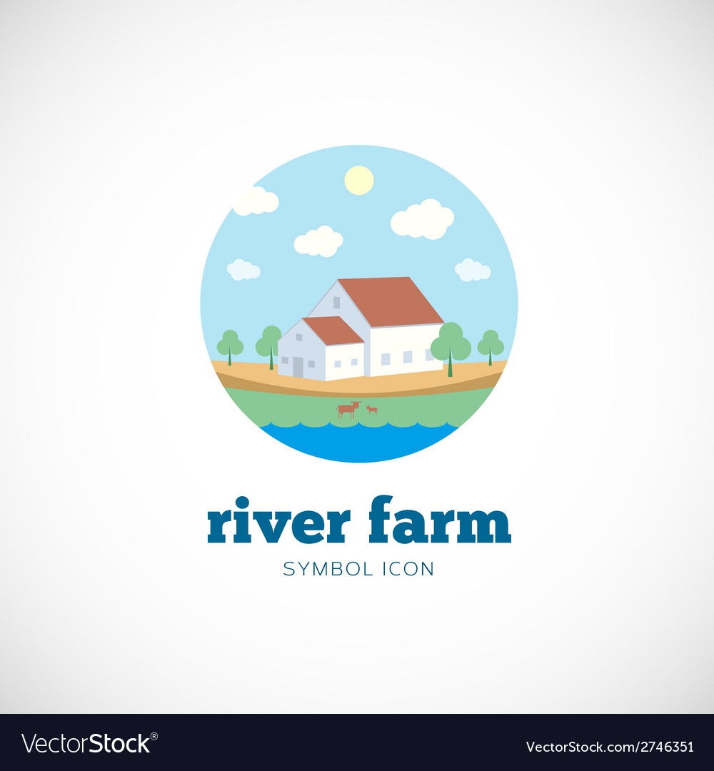 Eco river farm flat style concept symbol icon or vector | Price: 1 Credit (USD $1)