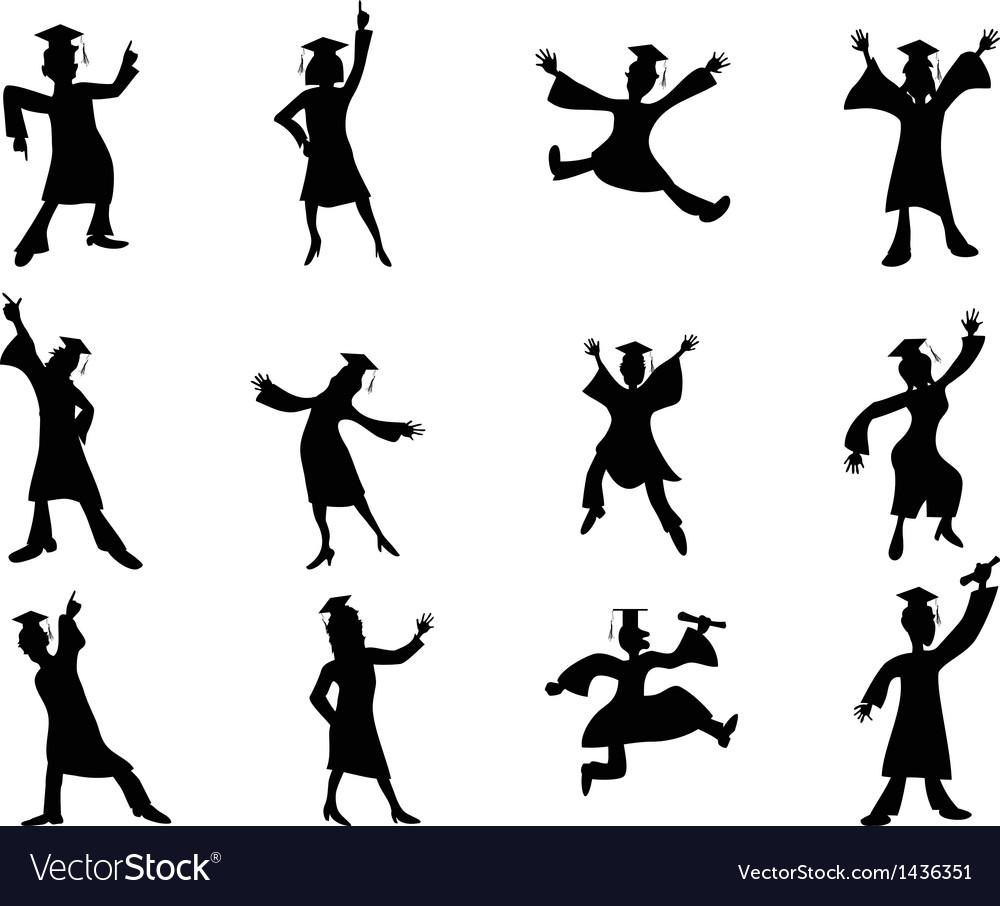Happy graduates silhouette vector | Price: 1 Credit (USD $1)