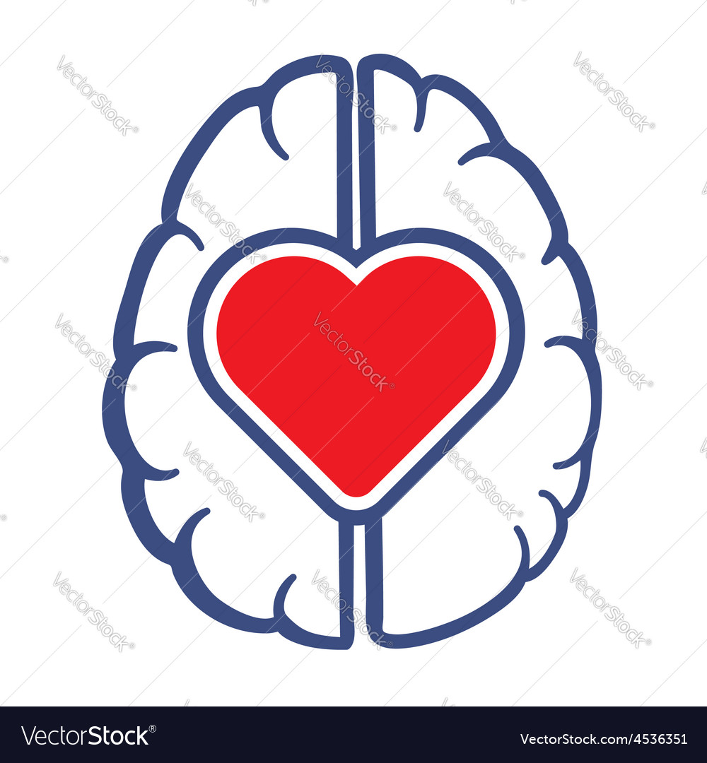 Heart symbol and human brain vector | Price: 1 Credit (USD $1)