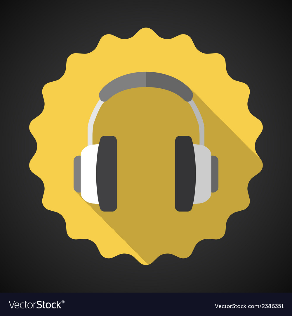 Music headphones earphones flat icon vector | Price: 1 Credit (USD $1)