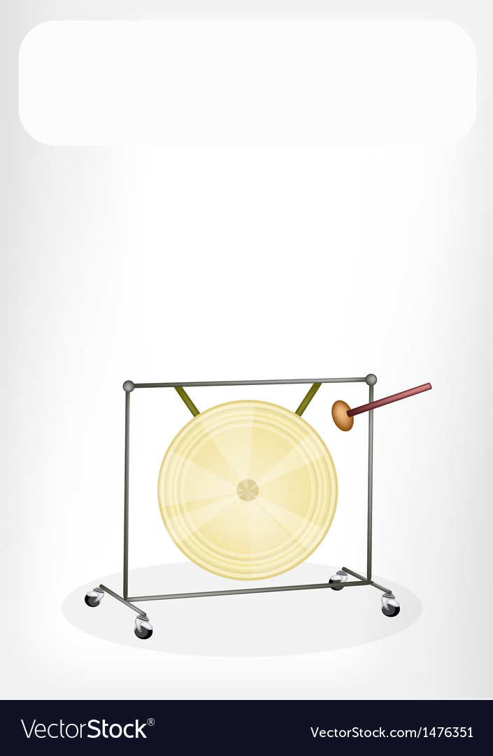Musical gong white banner vector | Price: 1 Credit (USD $1)