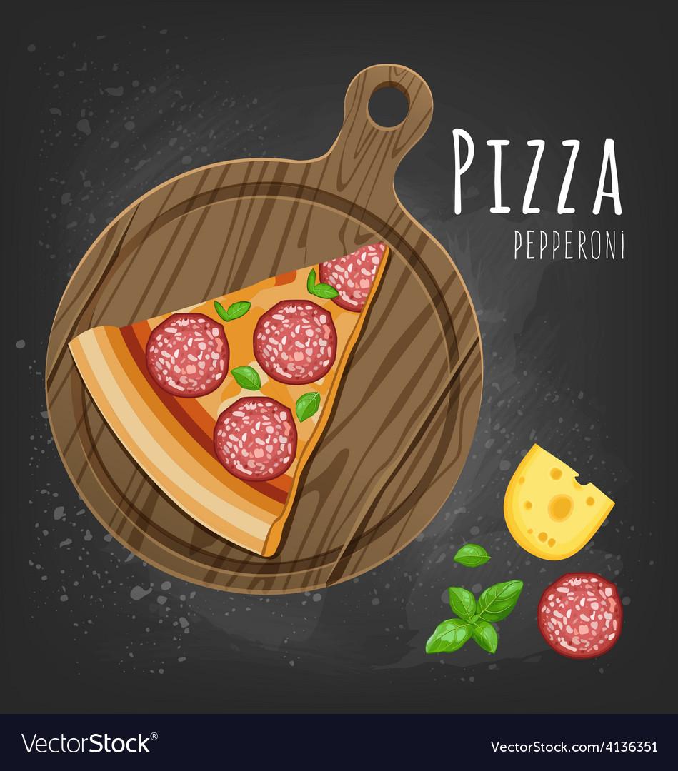 Pizza pepperoni slice vector | Price: 1 Credit (USD $1)
