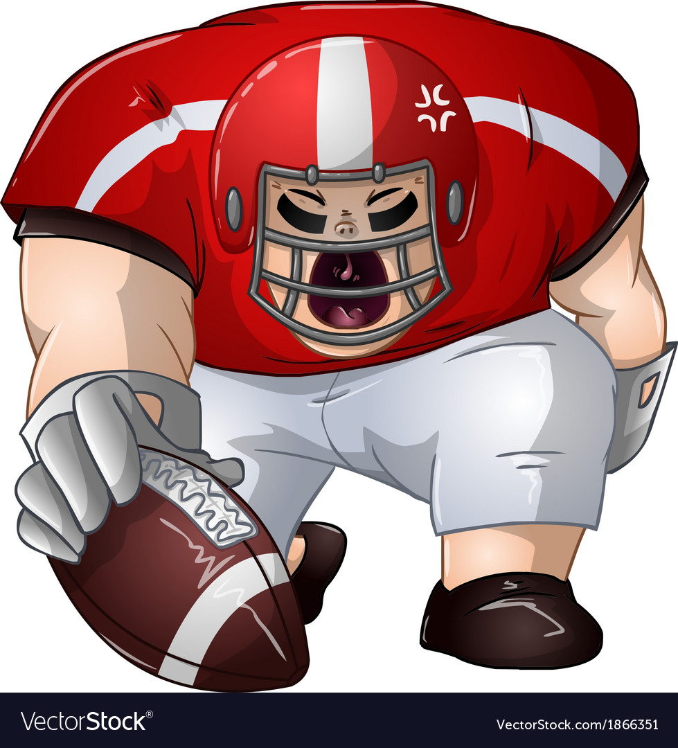 Red white football player kneels and holds ball vector | Price: 1 Credit (USD $1)