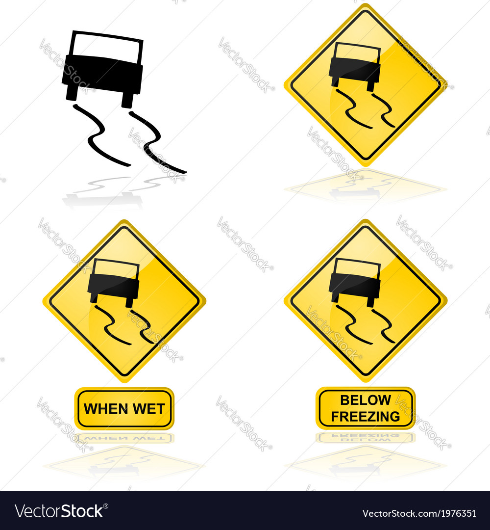 Slippery road vector | Price: 1 Credit (USD $1)