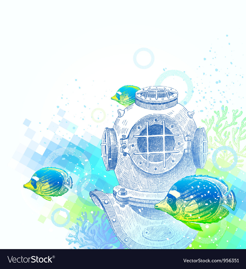 Vintage diving helmet and tropical fishes vector | Price: 1 Credit (USD $1)