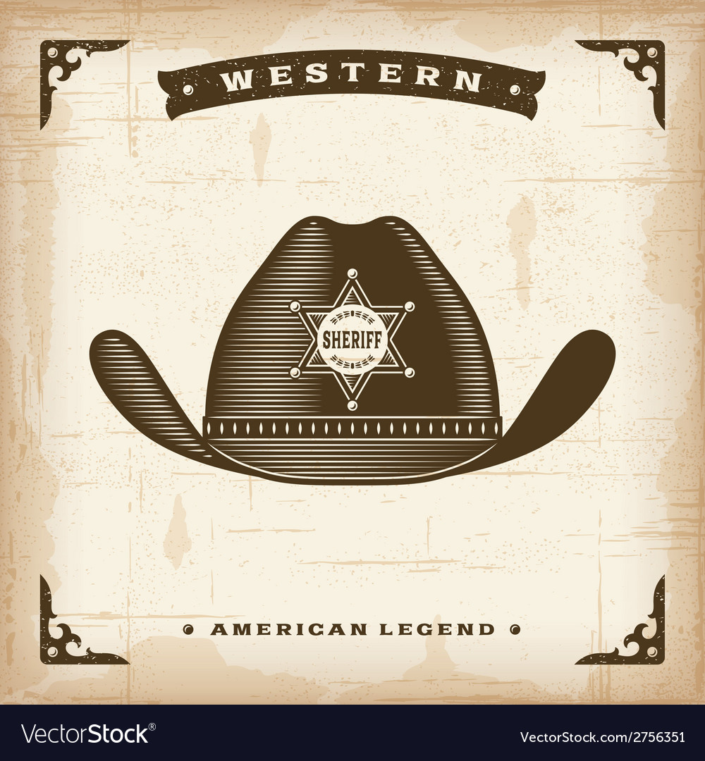 Vintage western sheriff hat vector | Price: 1 Credit (USD $1)