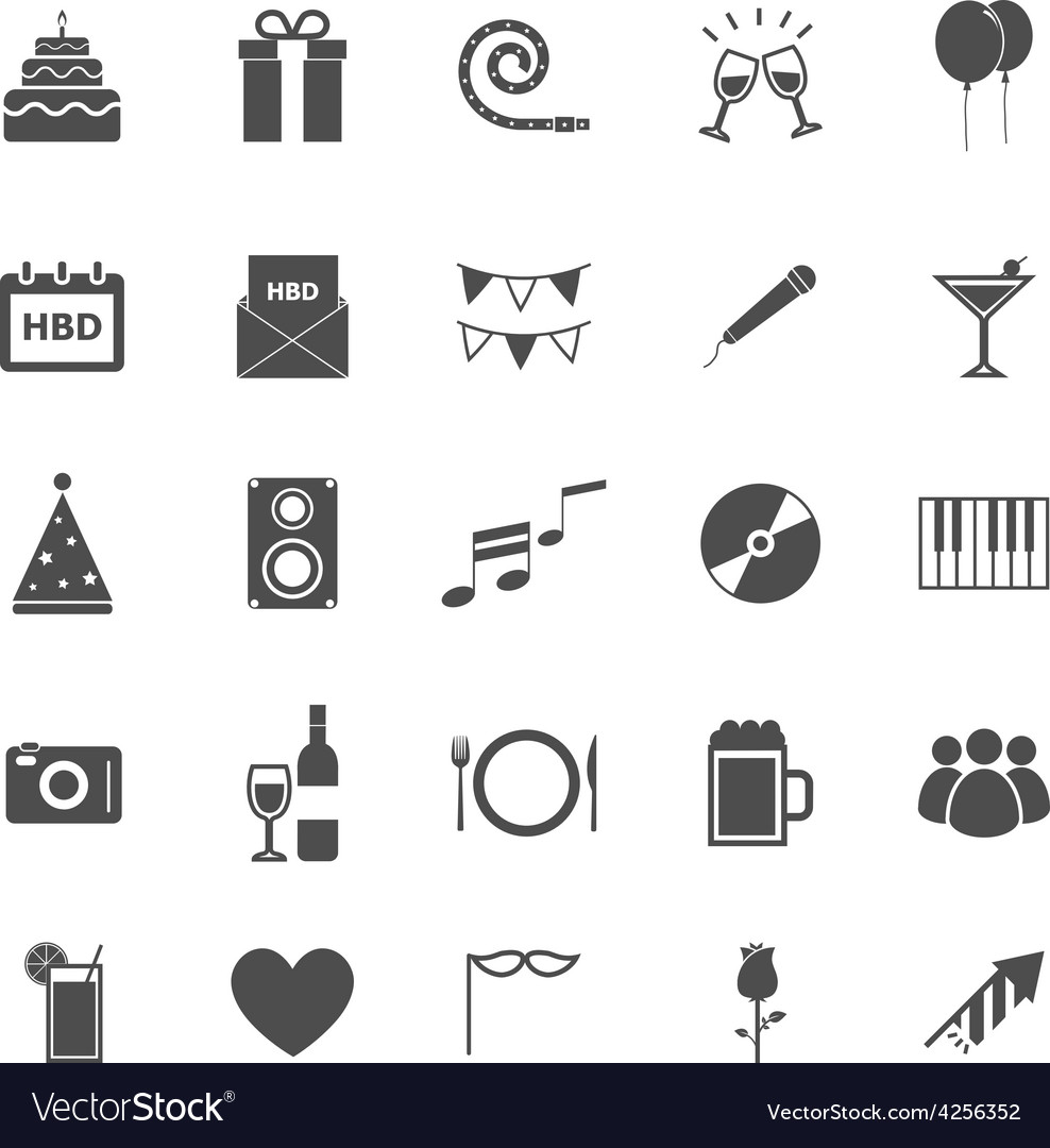 Birthday icons on white backgound vector | Price: 1 Credit (USD $1)
