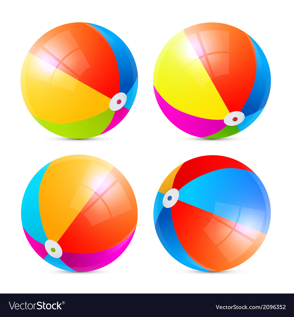 Colorful beach balls set isolated on white vector | Price: 1 Credit (USD $1)