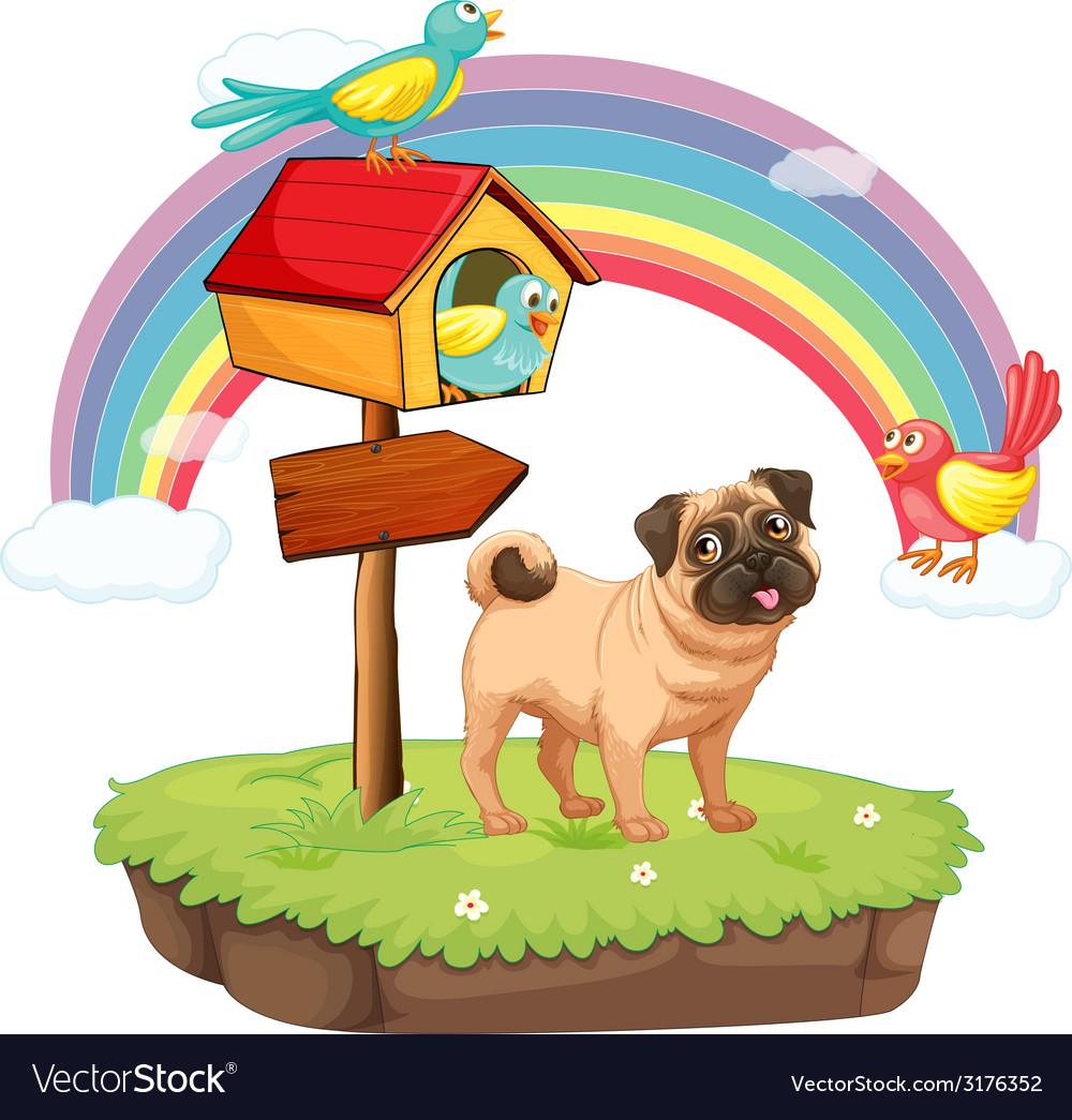 Dog and rainbow vector | Price: 1 Credit (USD $1)