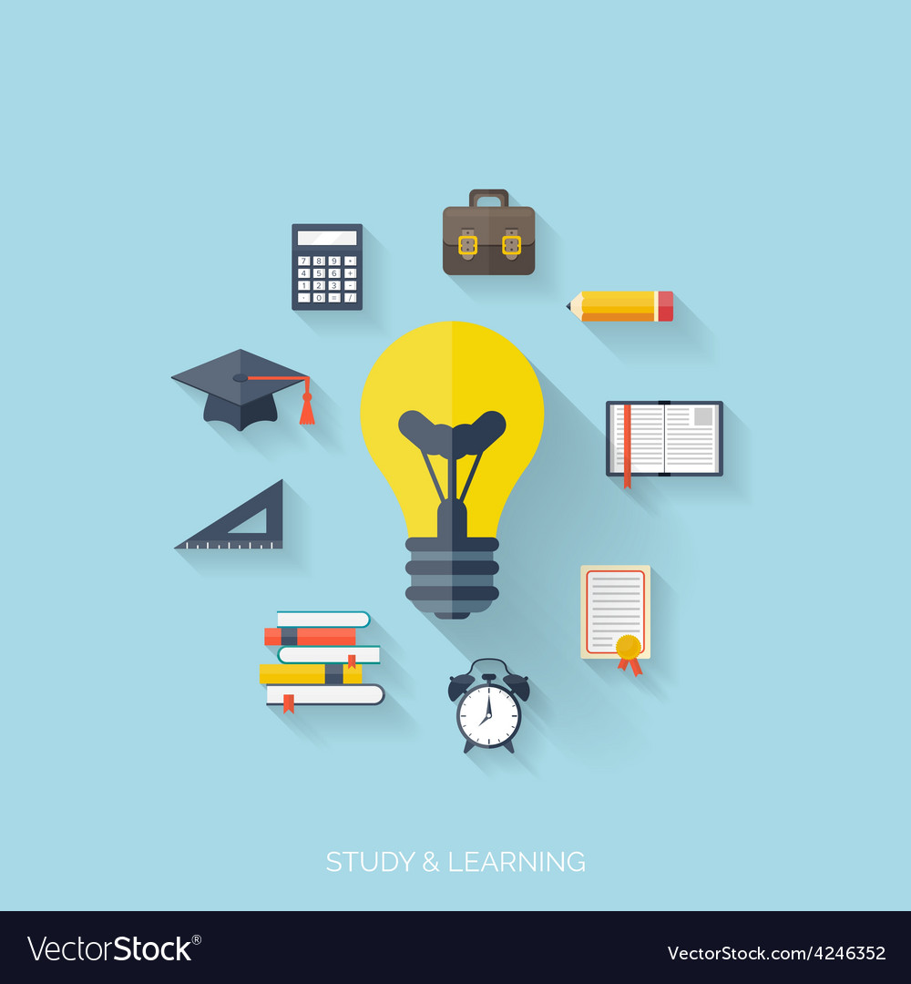 Flat concept education background back to school vector | Price: 1 Credit (USD $1)