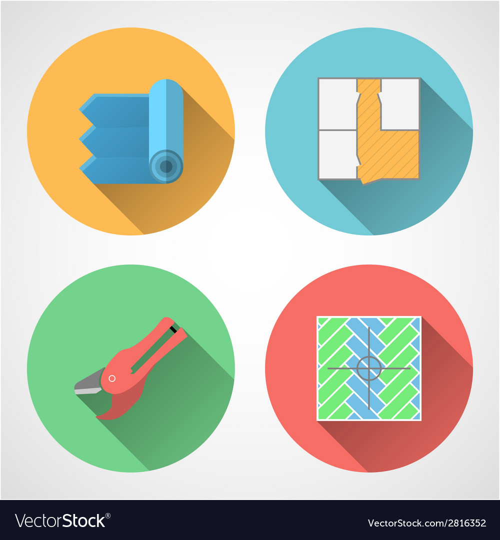 Flat icons for linoleum flooring service vector | Price: 1 Credit (USD $1)