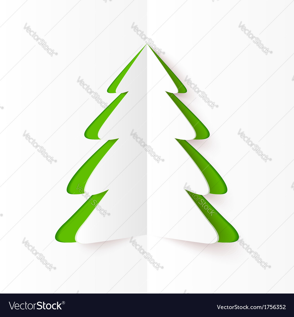 Green cutout paper christmas tree vector | Price: 1 Credit (USD $1)