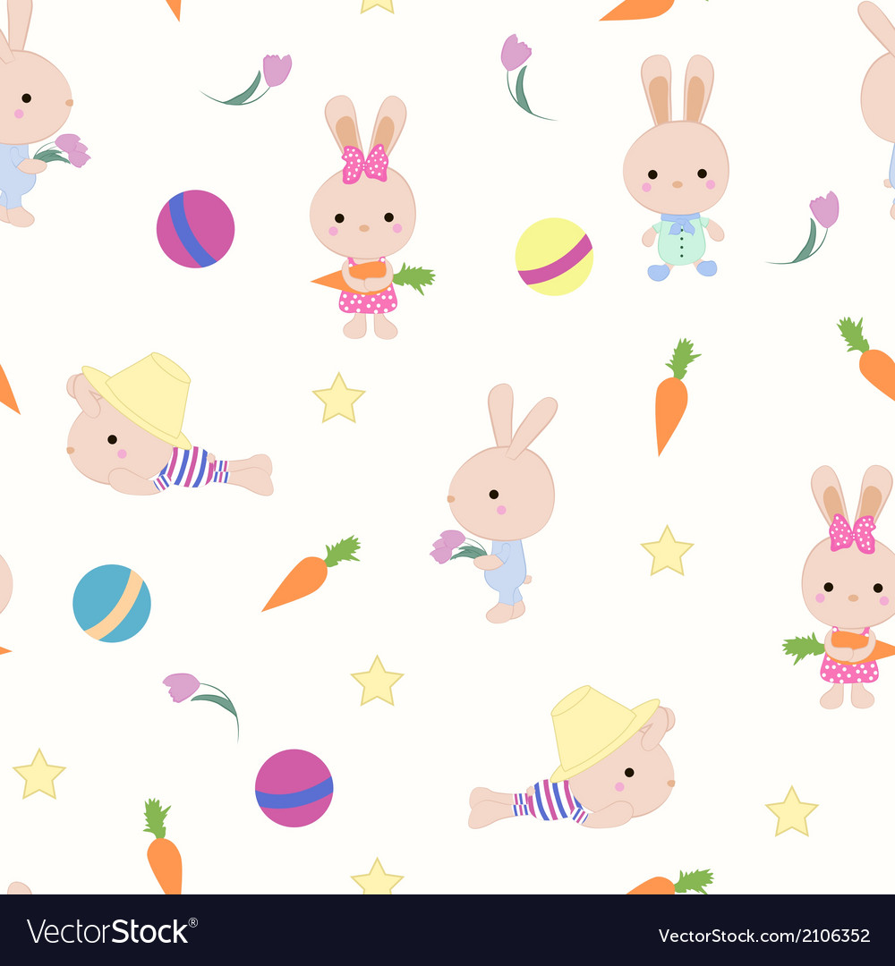 Kids cute seamless pattern with bunnies on white vector | Price: 1 Credit (USD $1)