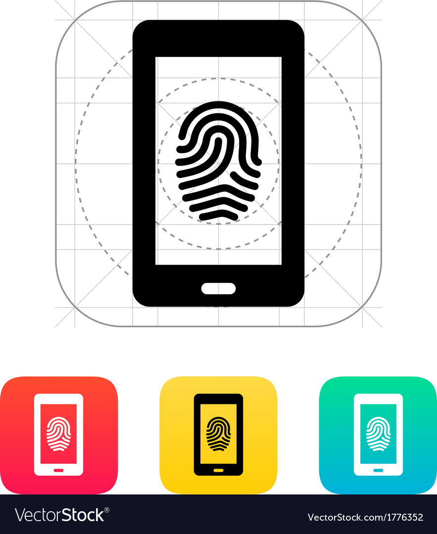 Phone fingerprint icon vector | Price: 1 Credit (USD $1)