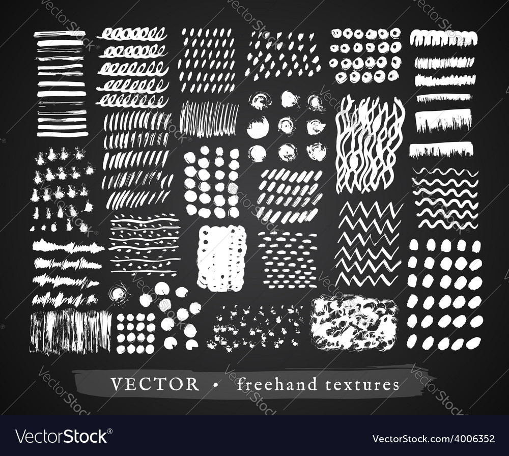 Set creative freehand textures vector | Price: 1 Credit (USD $1)