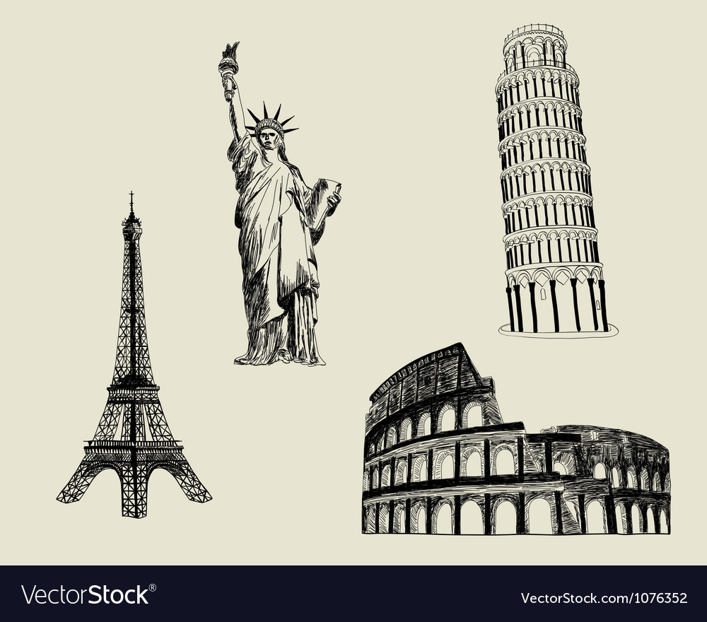 Sketch landmarks vector | Price: 1 Credit (USD $1)