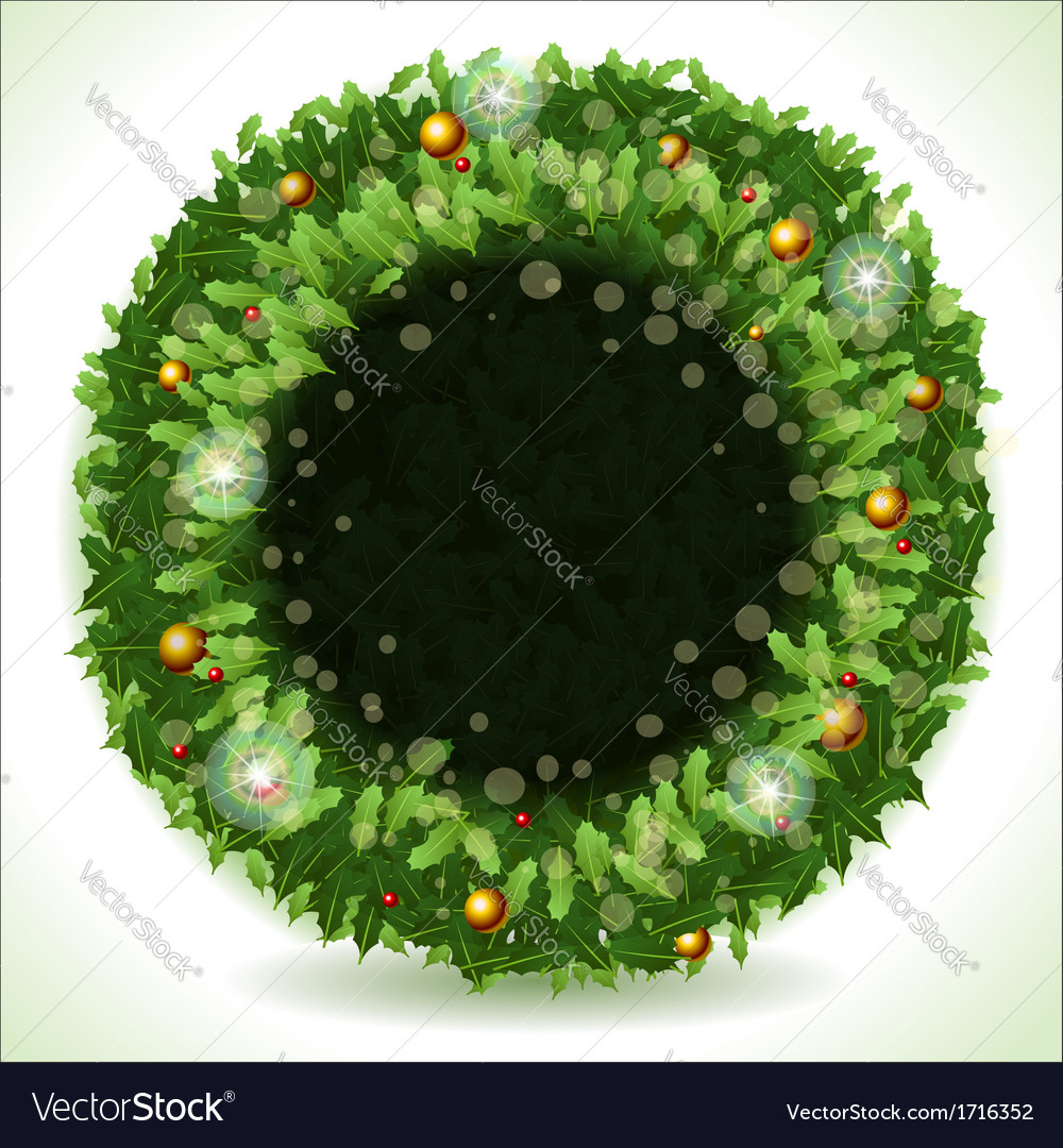 Wreath christmas with black placeholder vector | Price: 1 Credit (USD $1)