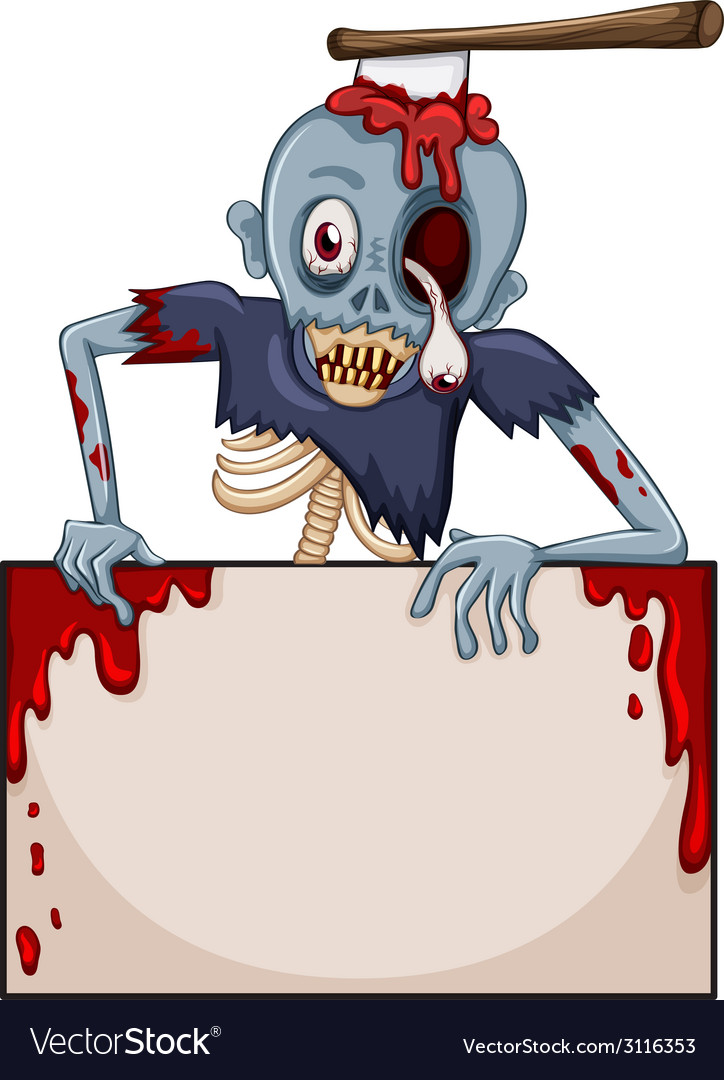 A zombie with an empty signboard vector | Price: 1 Credit (USD $1)