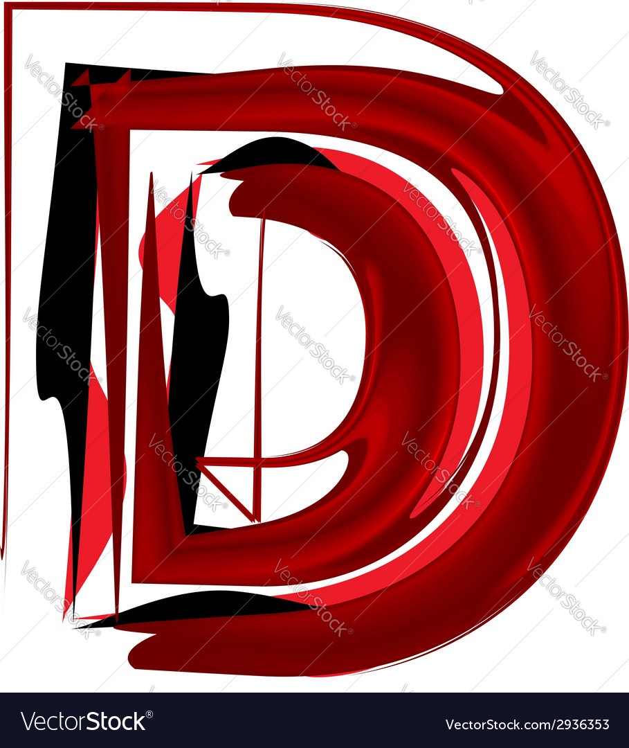 Artistic font letter d vector | Price: 1 Credit (USD $1)