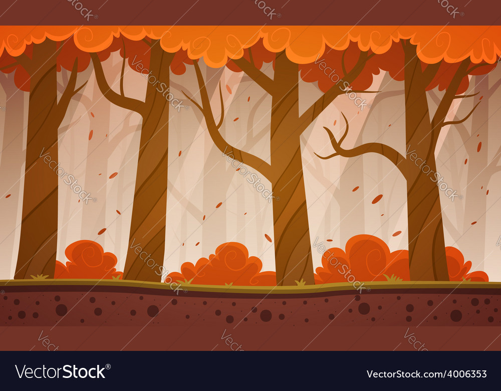 Autumn forest cartoon background vector | Price: 5 Credit (USD $5)