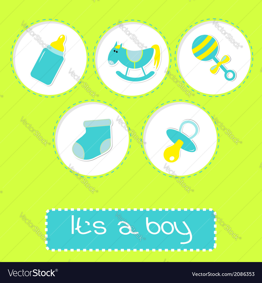 Baby boy shower card with bottle horse and rattle vector | Price: 1 Credit (USD $1)