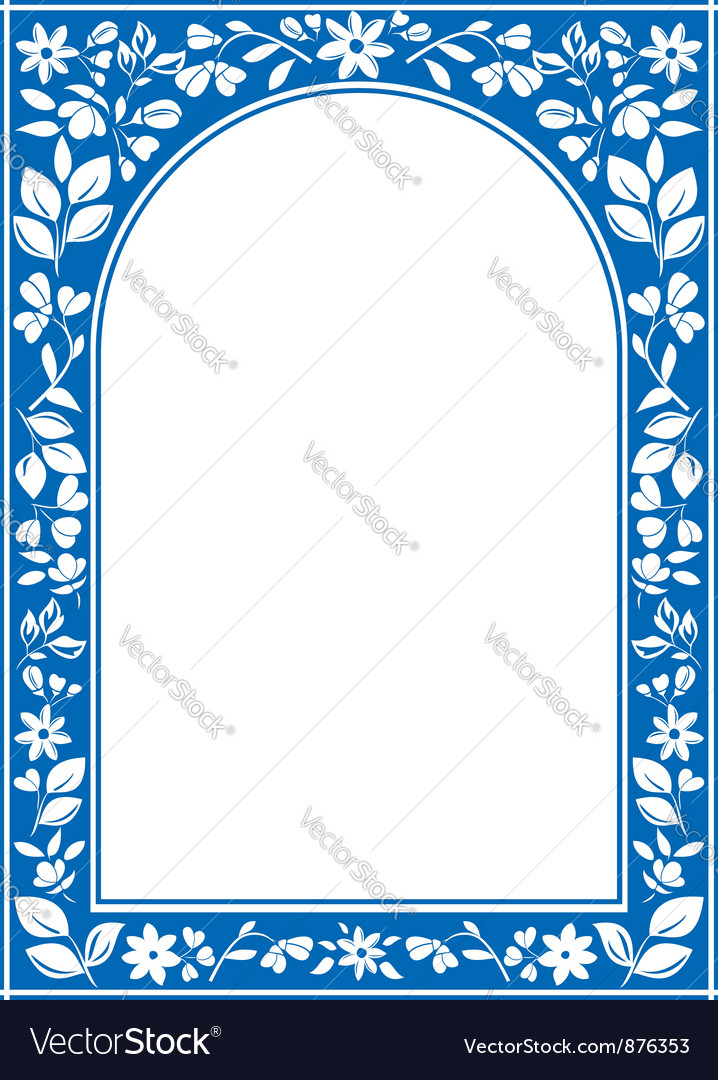 Blue floral arch frame vector | Price: 1 Credit (USD $1)