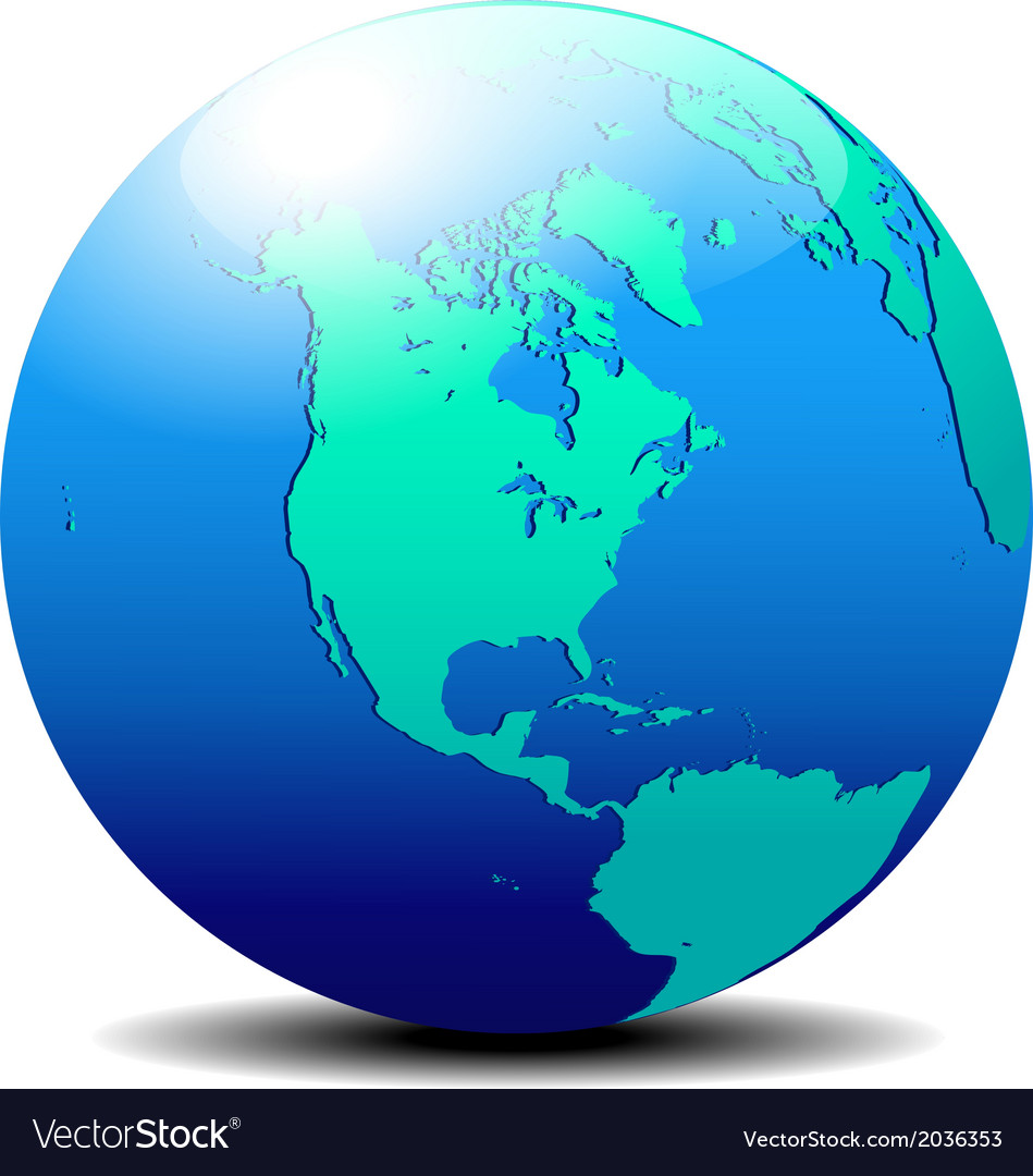 North and south america map of the world globe vector   Price: 1 Credit (USD $1)