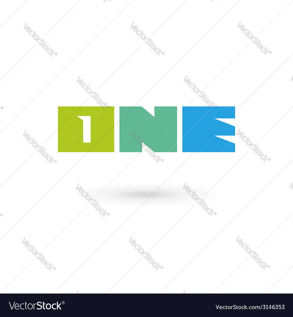 Number one 1 word logo icon design template vector
