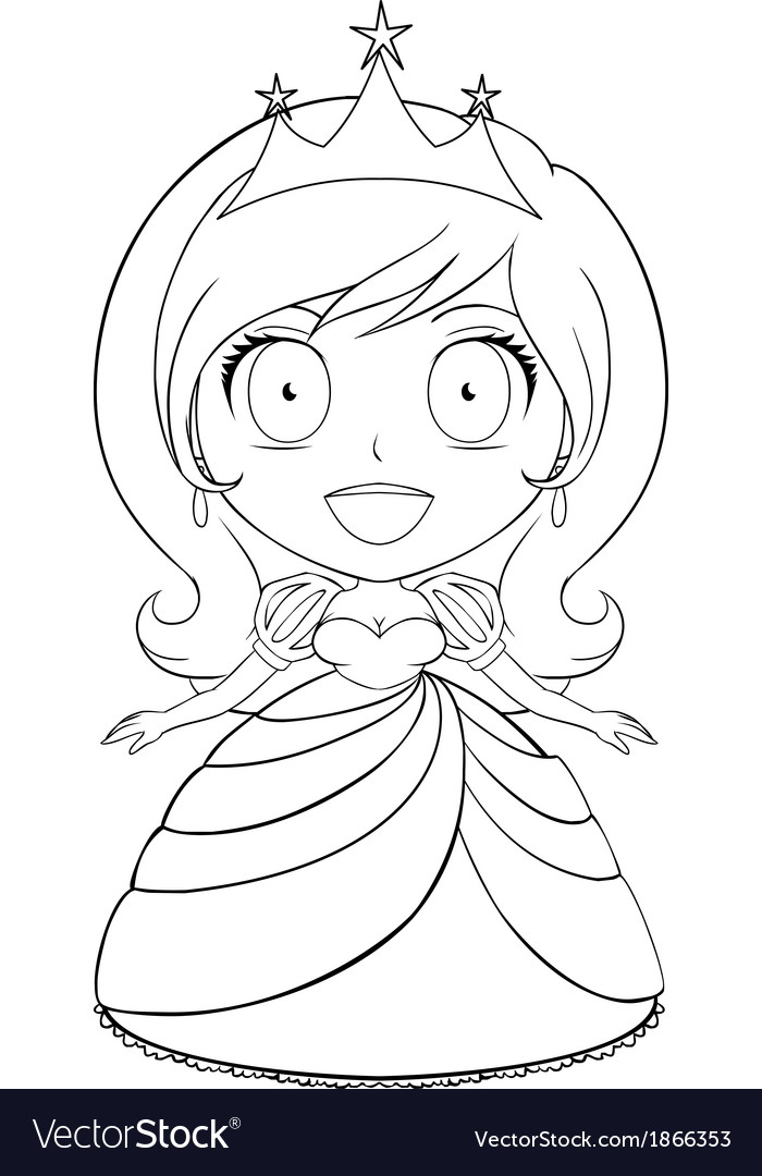 Princess coloring page 1 vector | Price: 1 Credit (USD $1)